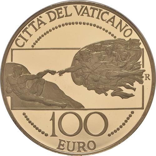 Rückseite:Vatikan : 100 Euro Die Erschaffung des Menschen -selten- 2008 PP 100 Euro Vatikan 2008