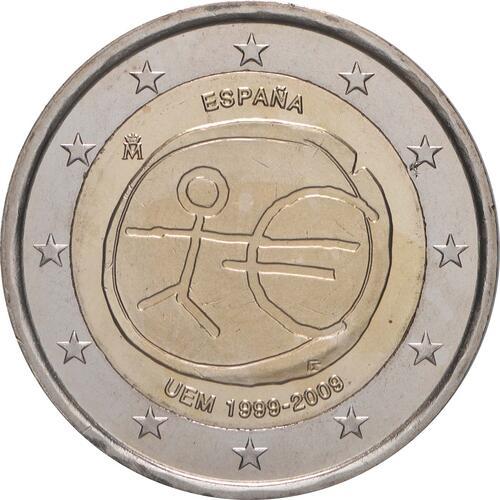 Rückseite:Spanien : 2 Euro 10 Jahre Euro  2009 bfr