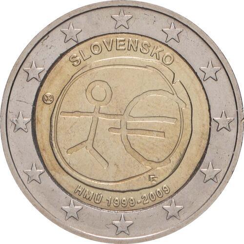 Rückseite:Slowakei : 2 Euro 10 Jahre Euro  2009 bfr