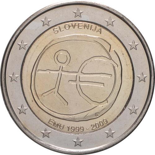 Rückseite:Slowenien : 2 Euro 10 Jahre Euro  2009 bfr