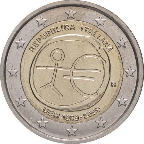 Rückseite:Italien : 2 Euro 10 Jahre Euro  2009 bfr