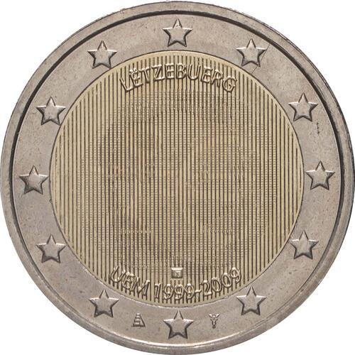 Rückseite:Luxemburg : 2 Euro 10 Jahre Euro  2009 bfr