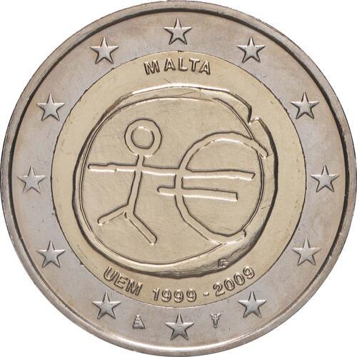 Rückseite:Malta : 2 Euro 10 Jahre Euro  2009 bfr