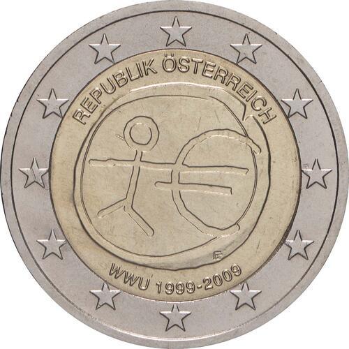 Rückseite:Österreich : 2 Euro 10 Jahre Euro  2009 bfr