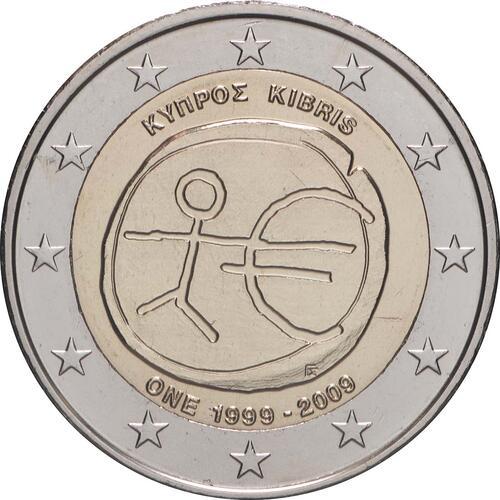 Rückseite:Zypern : 2 Euro 10 Jahre Euro  2009 bfr