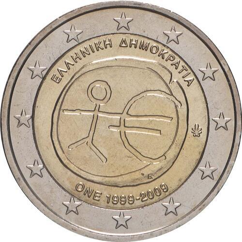 Rückseite:Griechenland : 2 Euro 10 Jahre Euro  2009 bfr