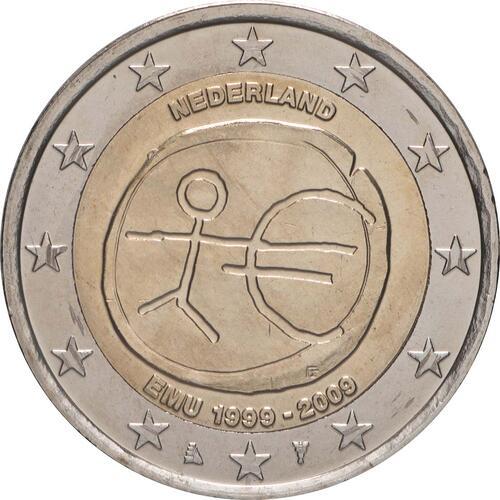 Rückseite:Niederlande : 2 Euro 10 Jahre Euro  2009 bfr