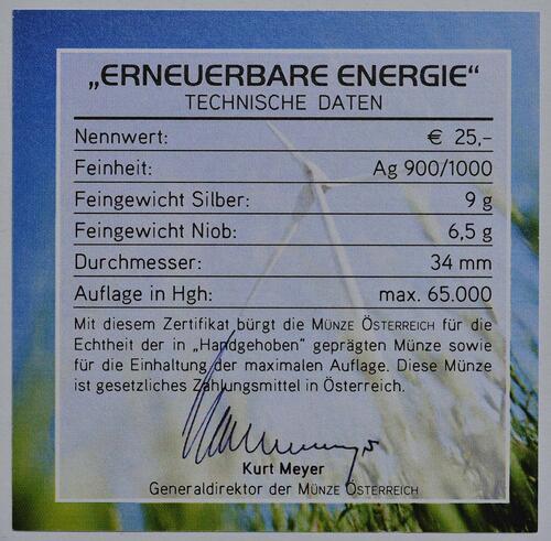 Zertifikat:Österreich : 25 Euro Erneuerbare Energie  2010 Stgl. 25 Euro Niob 2010