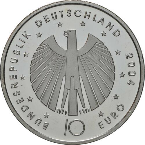 Rückseite:Deutschland : 10 Euro II. Ausgabe FIFA Fußball WM Deutschland  2006 Buchstabe unserer Wahl  2004 bfr
