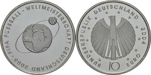 Lieferumfang:Deutschland : 10 Euro II. Ausgabe FIFA Fußball WM Deutschland  2006 Buchstabe unserer Wahl  2004 bfr