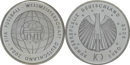 Lieferumfang:Deutschland : 10 Euro IV. Ausgabe FIFA Fußball WM Deutschland  2006  2006 bfr