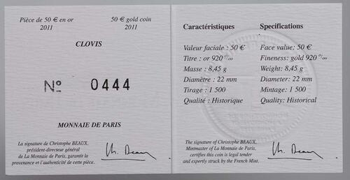 Zertifikat:Frankreich : 50 Euro Clovis  2011 Stgl.