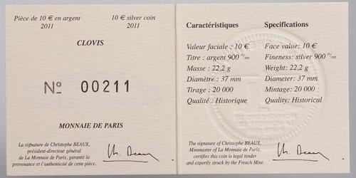 Zertifikat:Frankreich : 10 Euro Clovis  2011 Stgl.