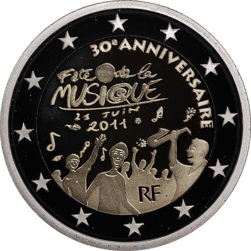 Rückseite :Frankreich : 2 Euro Musik Festival  2011 PP 2 Euro Frankreich 2011 PP