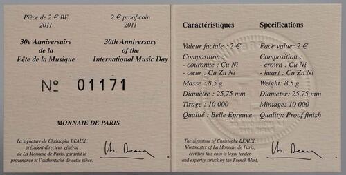 Zertifikat :Frankreich : 2 Euro Musik Festival  2011 PP 2 Euro Frankreich 2011 PP