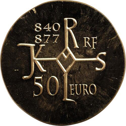 Vorderseite:Frankreich : 50 Euro Karl der Kahle  2011 Stgl.