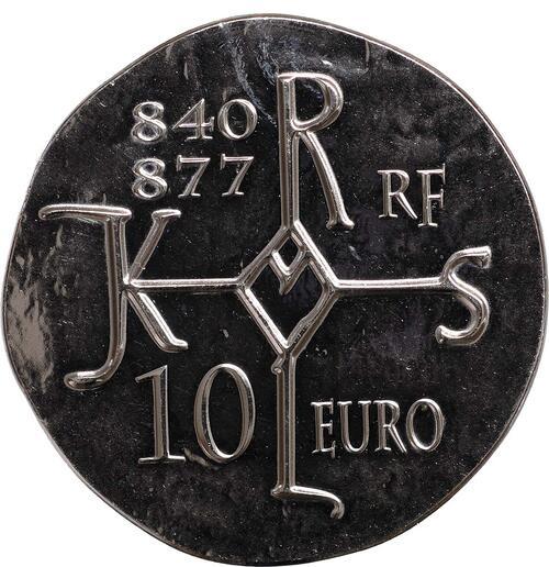 Vorderseite:Frankreich : 10 Euro Karl der Kahle  2011 Stgl.