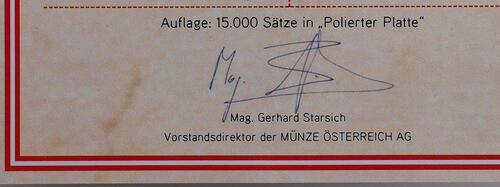 Zertifikat:Österreich : 3,88 Euro Originalsatz der Österreichischen Münze  2011 PP KMS Österreich 2011 PP