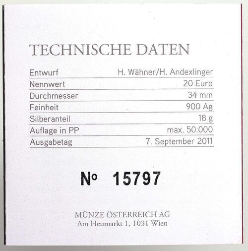 Zertifikat:Österreich : 20 Euro Aguntum  2011 PP
