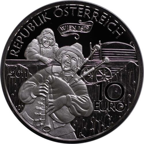 Rückseite:Österreich : 10 Euro Der liebe Augustin  2011 PP
