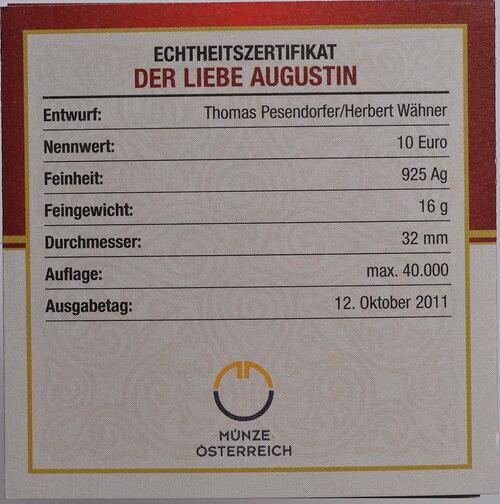 Zertifikat:Österreich : 10 Euro Der liebe Augustin  2011 PP