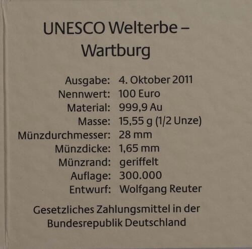 Zertifikat :Deutschland : 100 Euro Wartburg bei Eisenach Buchstabe unserer Wahl  2011 Stgl.