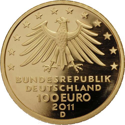Rückseite :Deutschland : 100 Euro Wartburg bei Eisenach Komplettset A,D,F,G,J 5 Münzen  2011 Stgl.