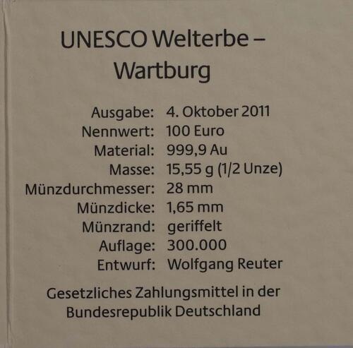 Zertifikat :Deutschland : 100 Euro Wartburg bei Eisenach Komplettset A,D,F,G,J 5 Münzen  2011 Stgl.