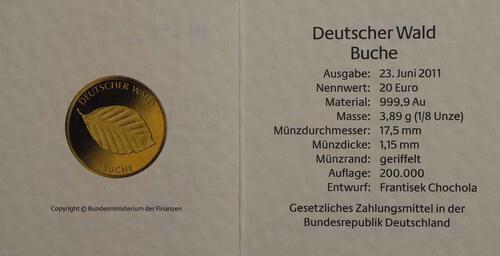 Zertifikat:Deutschland : 20 Euro Buche Buchstabe unserer Wahl  2011 Stgl.