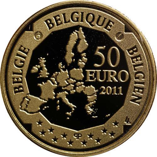 Rückseite:Belgien : 50 Euro Amundsen Entdeckung des Südpols in Zusammenarbeit mit Norwegen  2011 PP