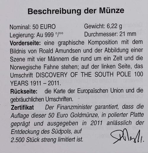 Zertifikat:Belgien : 50 Euro Amundsen Entdeckung des Südpols in Zusammenarbeit mit Norwegen  2011 PP