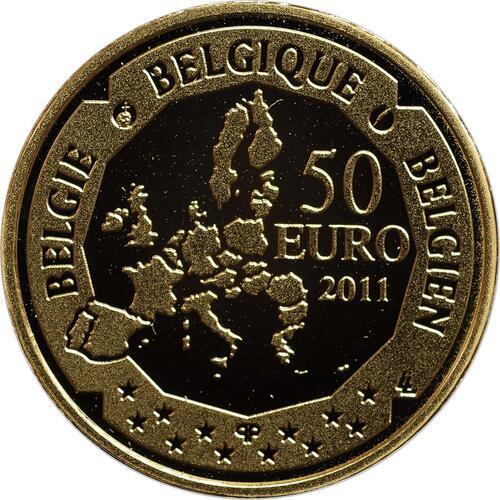 Rückseite:Belgien : 50 Euro Auguste Piccard / Bathyskaphs - Tiefsee-U-Boot  2011 PP