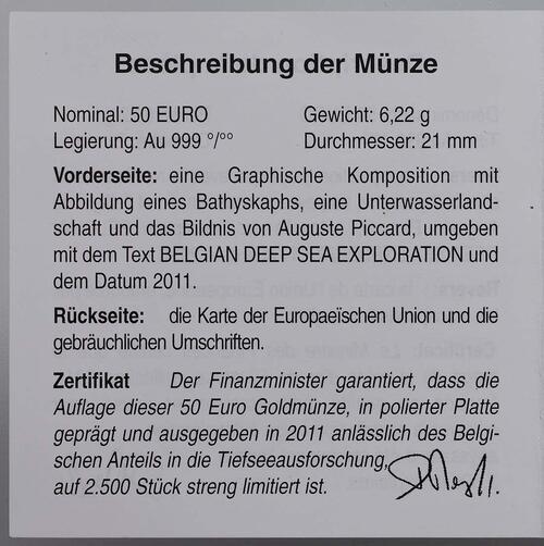 Zertifikat:Belgien : 50 Euro Auguste Piccard / Bathyskaphs - Tiefsee-U-Boot  2011 PP