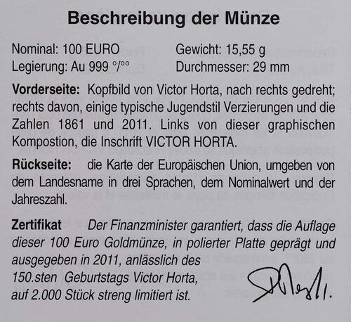 Zertifikat:Belgien : 100 Euro 150. Geburtstag Victor Horta  2011 PP 100 Euro Belgien 2011