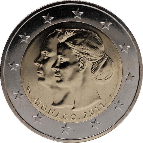 Rückseite:Monaco : 2 Euro Hochzeit Charlene und Albert  2011 Stgl. 2 Euro Monaco 2011 Hochzeit