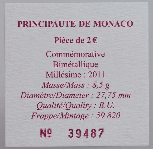 Zertifikat:Monaco : 2 Euro Hochzeit Charlene und Albert  2011 Stgl. 2 Euro Monaco 2011 Hochzeit
