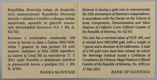 Zertifikat:Slowenien : 100 Euro 20 Jahre Unabhängigkeit Sloweniens  2011 PP