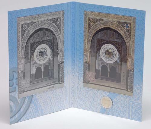 Lieferumfang :Spanien : 2 Euro Alhambra + Briefmarken  2011 Stgl.