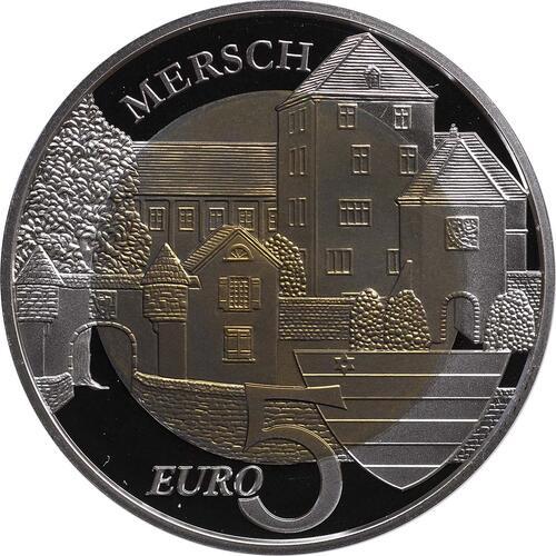 Vorderseite:Luxemburg : 5 Euro Burg Mersch  2011 PP NIOB
