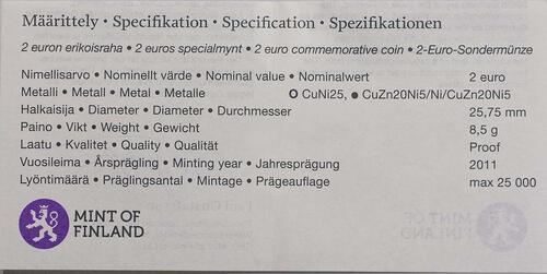Zertifikat:Finnland : 2 Euro 200 Jahre finnische Bank  2011 PP