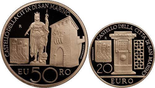 Vorderseite:San Marino : 70 Euro Set aus 20 + 50 Euro Architektonische Elemente San Marinos  2011 PP