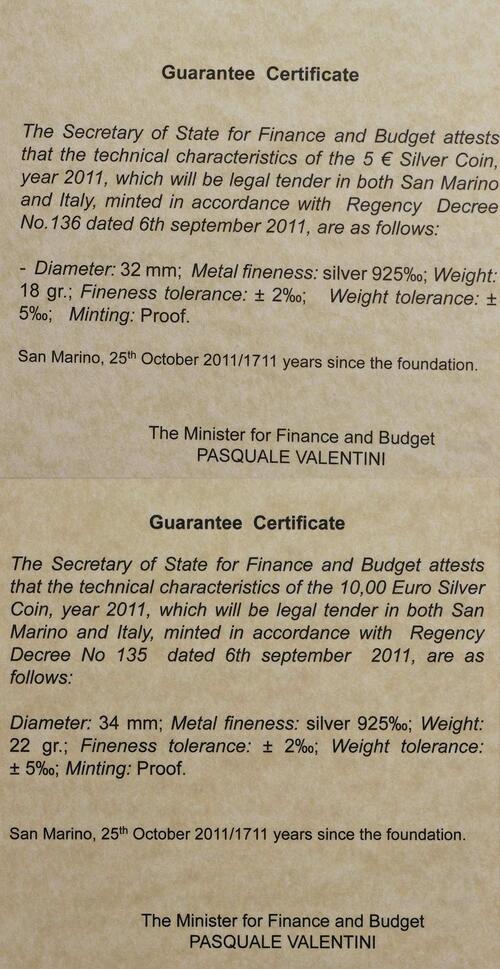 Zertifikat:San Marino : 15 Euro Set aus 5 Euro Entdecker, 10 Euro 10 Jahre Euro  2011 PP
