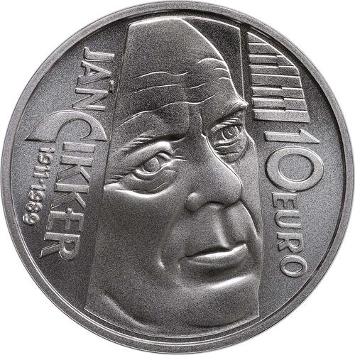 Vorderseite:Slowakei : 10 Euro Jan Cikker  2011 Stgl.