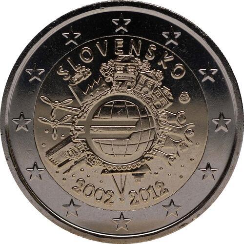 Rückseite :Slowakei : 2 Euro 10 Jahre Euro Bargeld  2012 bfr