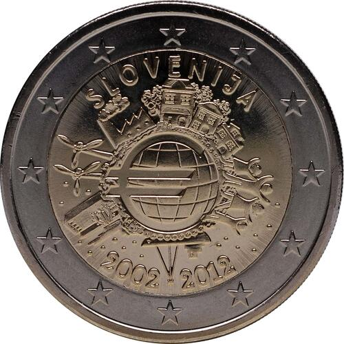 Rückseite:Slowenien : 2 Euro 10 Jahre Euro Bargeld  2012 bfr
