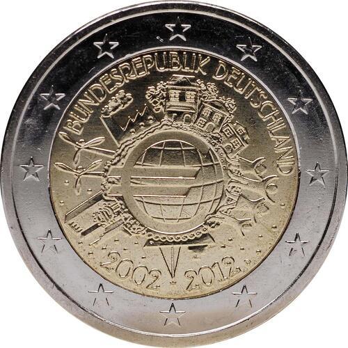 Rückseite :Deutschland : 2 Euro 10 Jahre Euro Bargeld  2012 Stgl.