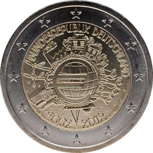 Rückseite:Deutschland : 2 Euro 10 Jahre Euro Bargeld  2012 Stgl.