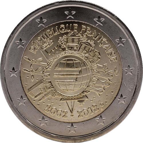 Rückseite:Frankreich : 2 Euro 10 Jahre Euro Bargeld  2012 bfr