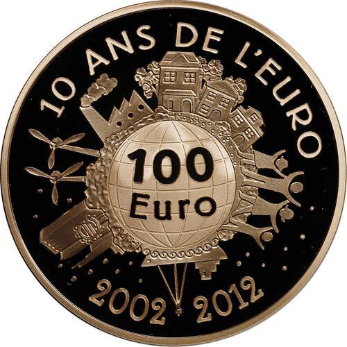 Vorderseite:Frankreich : 100 Euro 10 Jahre Euro Bargeld  2012 PP