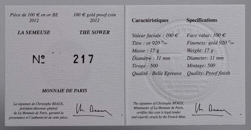 Zertifikat:Frankreich : 100 Euro 10 Jahre Euro Bargeld  2012 PP
